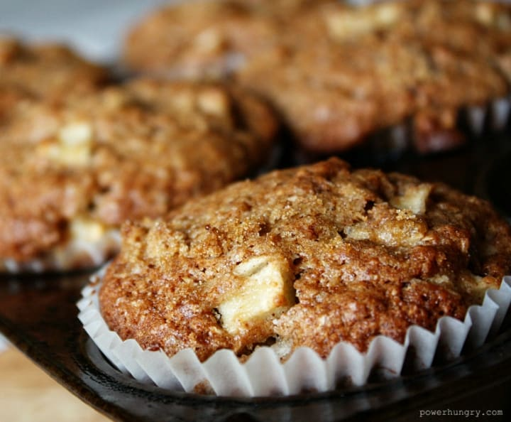 grain-free muffins made with apples, coconut flour and almond flour, all in a muffin tin