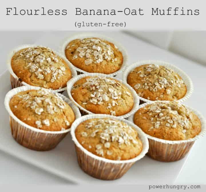 flourless gluten free banana oat muffins