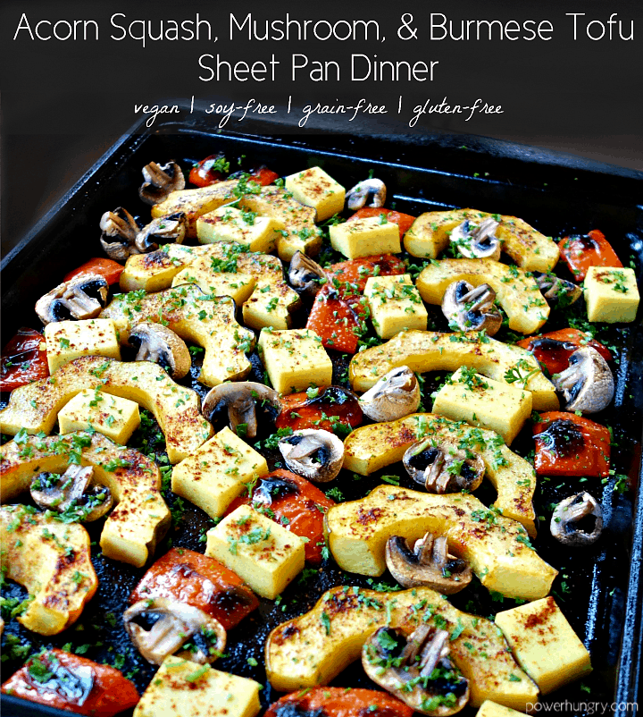 acorn squash sheet pan meal shot from the side