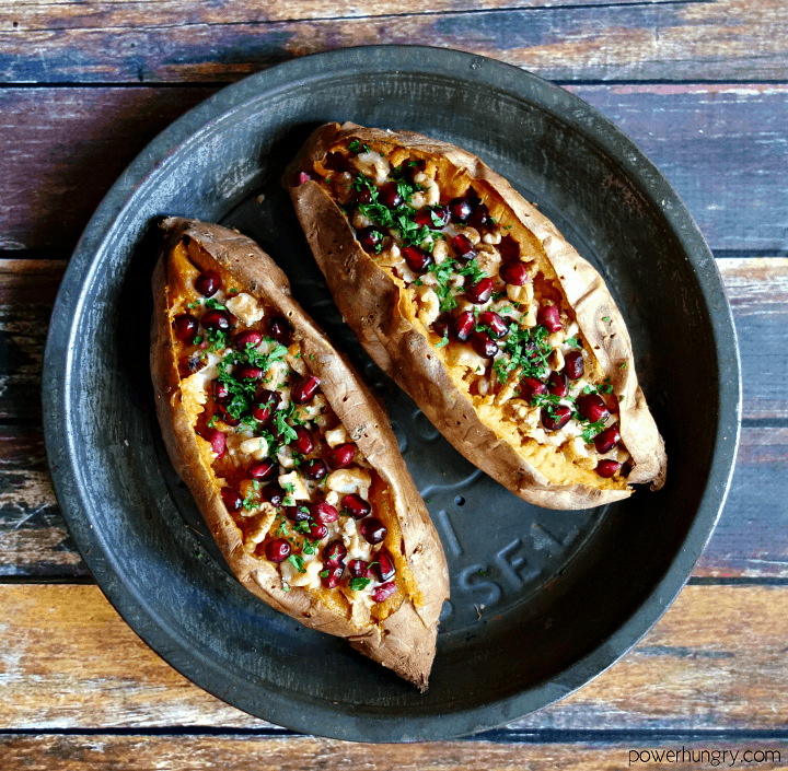 Vegan Supper Stuffed Sweet Potatoes 5 Ingredients Easy Power Hungry